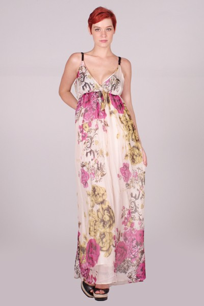 Lumiere floral watercolor maxi dress