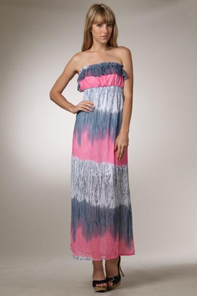 Timing Watercolor tube top maxi dress